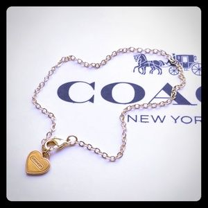 Coach Script Heart Charm Gold Plated Bracelet New